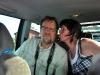 Lennart Pettersson och Katarina Knutsson hade det bra där bak i bilen...